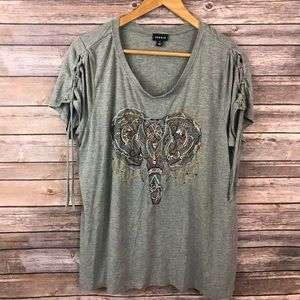Torrid Sz1 Elephant Embroidered Lace Up Sleeve Tee